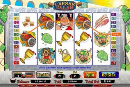 888 Casino featuring the video-Slots Caesar Salad with a maximum payout of 7,5000x