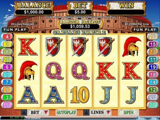 99 Slot Machines featuring the video-Slots Caesar's Empire with a maximum payout of $250,000