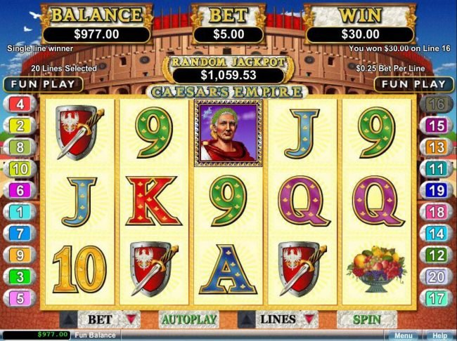 Slots.com featuring the video-Slots Caesar's Empire with a maximum payout of $250,000