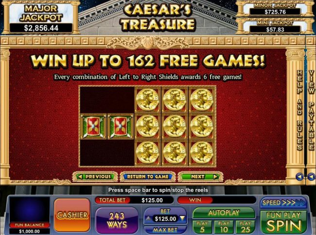 Slot Madness featuring the Video Slots Caesar's Treasure with a maximum payout of Jackpot