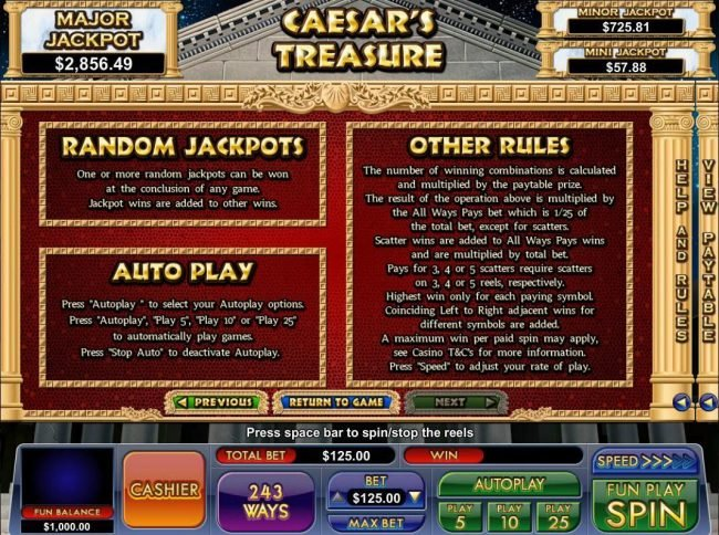 Play slots at Slot Madness: Slot Madness featuring the Video Slots Caesar's Treasure with a maximum payout of Jackpot