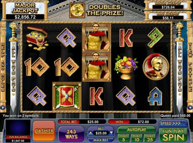 BuzzLuck featuring the Video Slots Caesar's Treasure with a maximum payout of Jackpot
