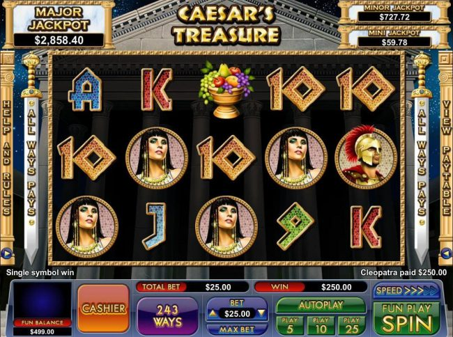 Play slots at BuzzLuck: BuzzLuck featuring the Video Slots Caesar's Treasure with a maximum payout of Jackpot