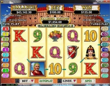 Play slots at Slots Plus: Slots Plus featuring the video-Slots Caesar's Empire with a maximum payout of $250,000