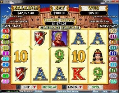 Play slots at Roaring 21: Roaring 21 featuring the video-Slots Caesar's Empire with a maximum payout of $250,000