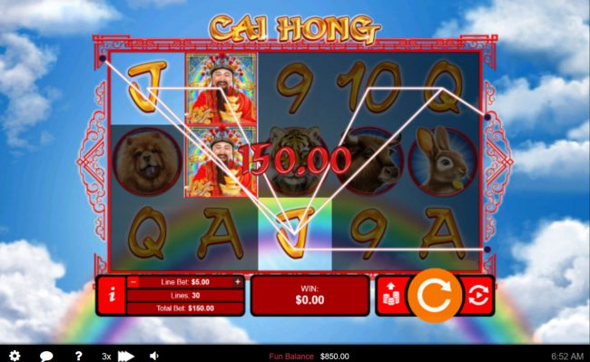 Casino Extreme featuring the Video Slots Cai Hong with a maximum payout of $250,000