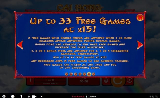 Slots of Vegas featuring the Video Slots Cai Hong with a maximum payout of $250,000