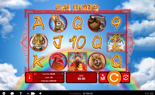 Play slots at Red Dog: Red Dog featuring the Video Slots Cai Hong with a maximum payout of $250,000