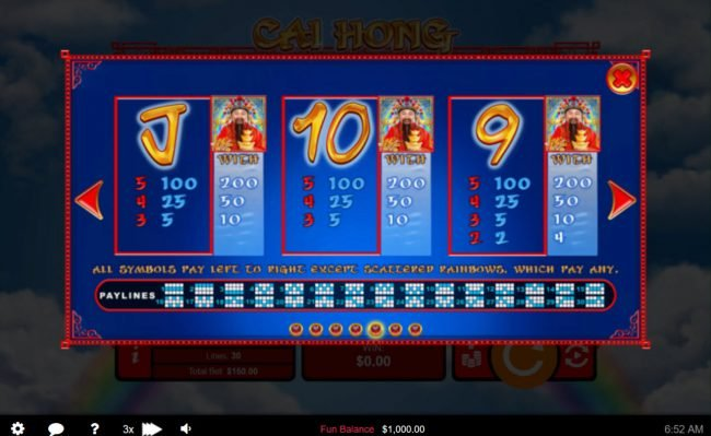 Prism featuring the Video Slots Cai Hong with a maximum payout of $250,000