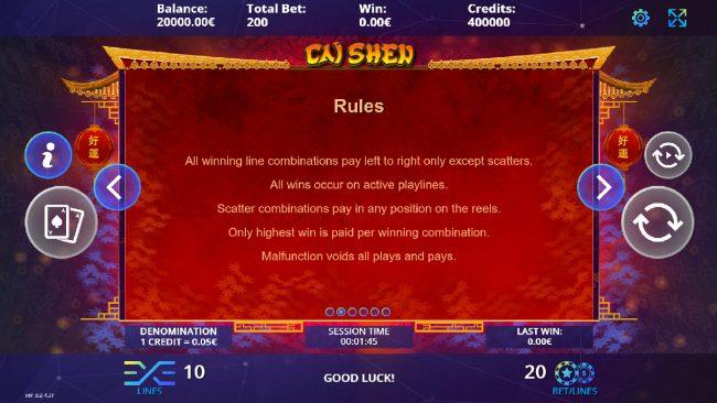 Cai Shen :: General Game Rules