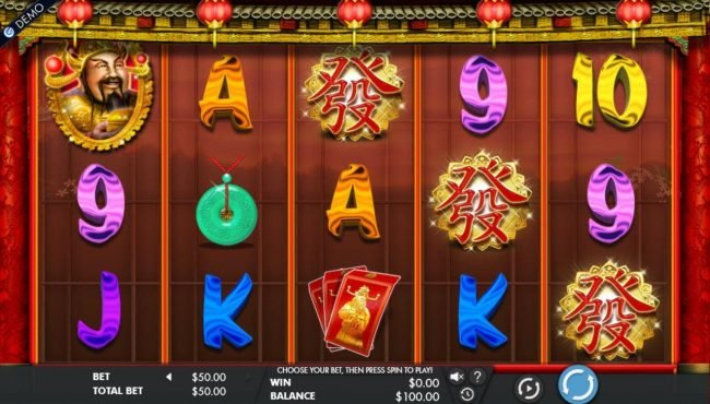 Cai Shen's Fortune :: Main game board featuring five reels and 243 winning combinations with a $50,000 max payout.