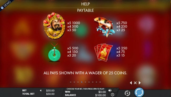 Cai Shen's Fortune :: High value slot game symbols paytable.