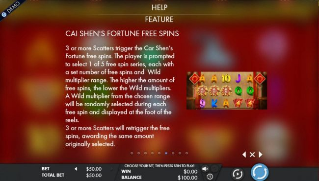 Cai Shen's Fortune :: Free Spins Rules - 3 or more scatters trigger the Cai Shens Fortune free spins.