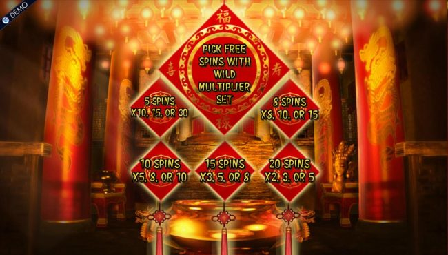 Cai Shen's Fortune :: Pick Free Spins with multiplier set. Five different combinations to choose from.