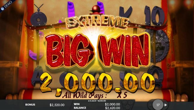 Cai Shen's Fortune :: A 2,000.00 big won triggered during the free games feature.