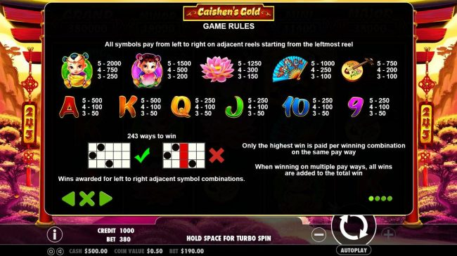 Spin Hill featuring the Video Slots Caishen's Gold with a maximum payout of $380,000
