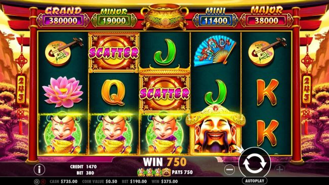 Crystal Casino Club featuring the Video Slots Caishen's Gold with a maximum payout of $380,000