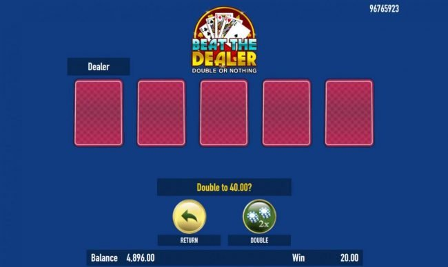 Cake Valley :: Beat The Dealer - Double or Nothing Gamble Feature Game Board - Select a card that is higher than the dealers for a chance to double your winnings.