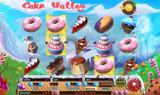 TheBesCasino featuring the Video Slots Cake Valley with a maximum payout of $250,000