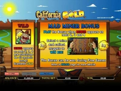 TS featuring the Video Slots California Gold with a maximum payout of $10,000