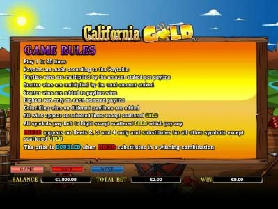 Roxy Palace featuring the Video Slots California Gold with a maximum payout of $10,000