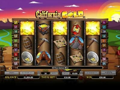 Aztec Ritces featuring the Video Slots California Gold with a maximum payout of $10,000
