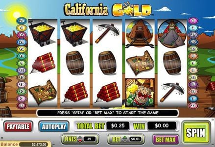 Liberty Slots featuring the Video Slots California Gold with a maximum payout of $100,000