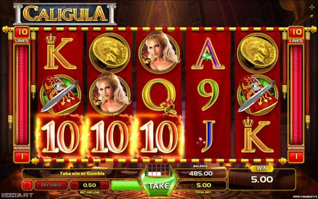 Cyber Spins featuring the Video Slots Caligula with a maximum payout of $7,5000