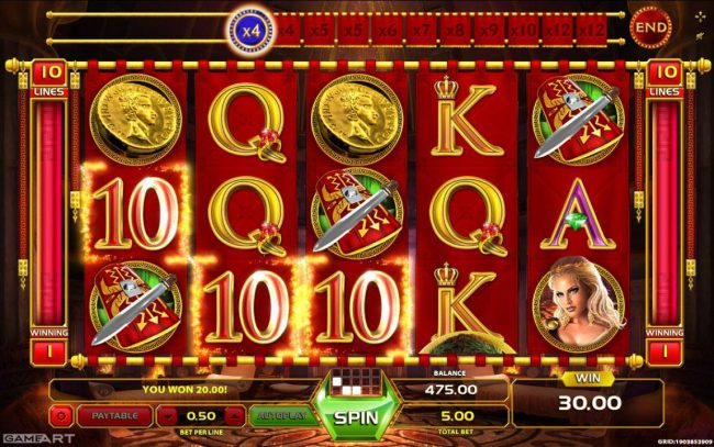 Play slots at Cyber Spins: Cyber Spins featuring the Video Slots Caligula with a maximum payout of $7,5000