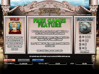Come On featuring the Video Slots Call of the Colosseum with a maximum payout of $10,000