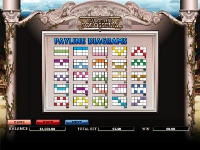 Call of the Colosseum :: payline diagrams