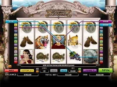 Dreamy 7 featuring the Video Slots Call of the Colosseum with a maximum payout of $10,000