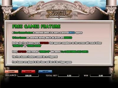 free games feature paytable and rules