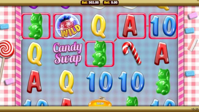 Mobireels featuring the Video Slots Candy Swap with a maximum payout of $2,500