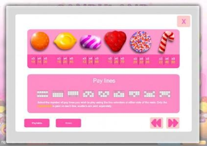 Candyland :: Slot game symbols paytable and payline diagrams