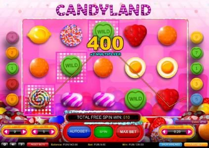 Candyland :: Winline triggers a 400 coin line pay and a add to the total Free Spins Feature payout of 610 coins for a big win.