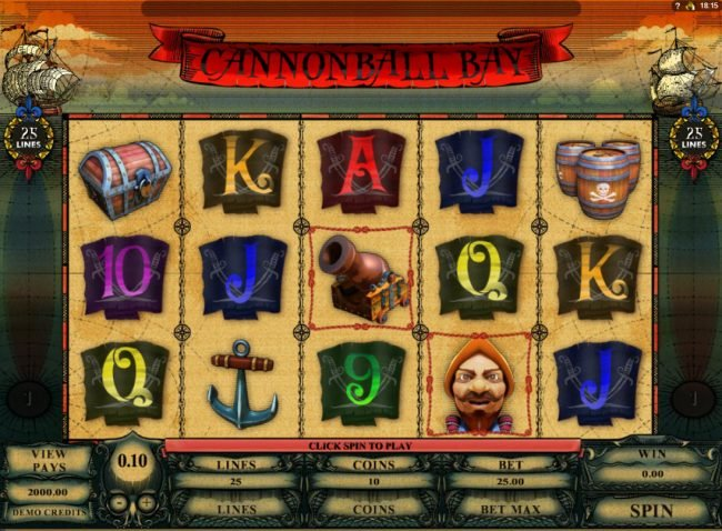Lucky Nugget featuring the Video Slots Cannonball Bay with a maximum payout of $12,000