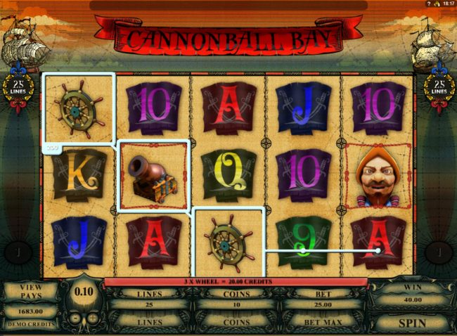 Spin Palace featuring the Video Slots Cannonball Bay with a maximum payout of $12,000