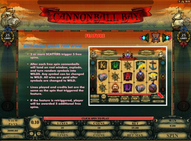 VegasMobile featuring the Video Slots Cannonball Bay with a maximum payout of $12,000