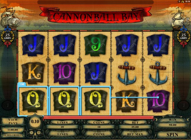Grand Hotel featuring the Video Slots Cannonball Bay with a maximum payout of $12,000
