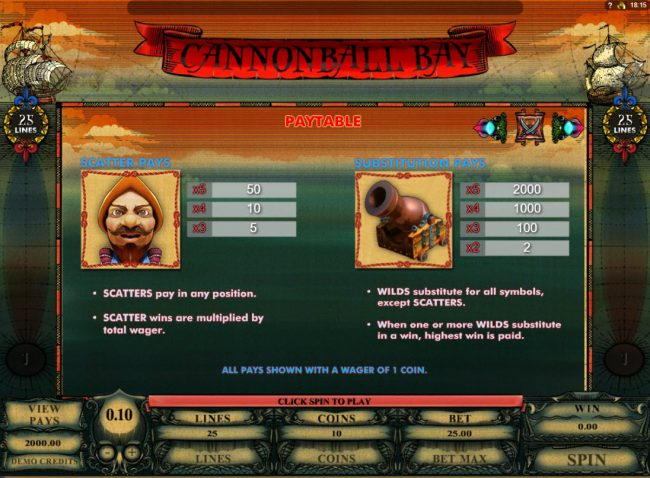 Vegas Country featuring the Video Slots Cannonball Bay with a maximum payout of $12,000