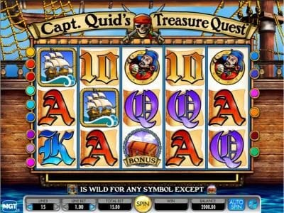 Capt. Quid's Treasure Quest :: Pirate themed main game board featuring five reels and 15 paylines