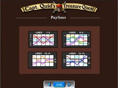 Capt. Quid's Treasure Quest :: Payline diagrams