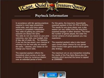Capt. Quid's Treasure Quest :: Payback Information