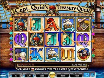 Capt. Quid's Treasure Quest :: here is an example of a 152 coin multiline jackpot win