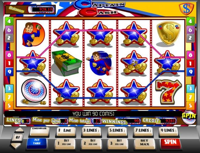 X-Bet featuring the Video Slots Captain Cash with a maximum payout of $15,000