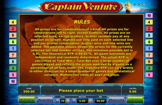 Captain Venture :: General Game Rules