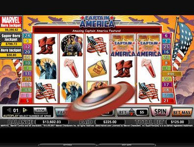Queen Vegas featuring the video-Slots Captain America with a maximum payout of 12,5000x