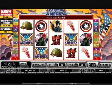 Joker Casino featuring the video-Slots Captain America with a maximum payout of 12,5000x