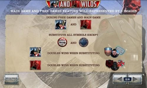 wild symbols rules - main game and free games feature wild represented by 2 images